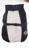 Háton rögzíthető télikabát tappancsmintával, bézs-fekete 25 cm háthossz