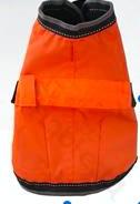 Narancssárga kutya dzseki, tépőzáras, kivehető led világítással a hátán, 30cm háthossz