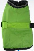 Zöld kutya dzseki, tépőzáras, kivehető led világítással a hátán, 40cm háthossz