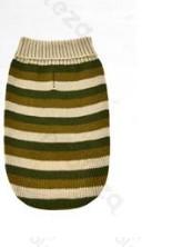 Kötött zöld csíkos kutyapulcsi, 20 cm háthossz