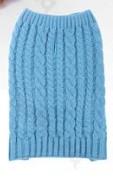 Kék fonott-kötött kutyapulcsi, 25 cm háthossz