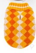 Kötött sárga kockás mintás kutyapulcsi, 20 cm háthossz