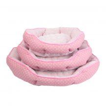 Rózsaszín alaponpöttyös mintás párnázott fekhely, 3db/csomag
