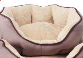 OCTAGONAL párnázott kényelmes kutyafekhely, barna, 45 x 40 cm