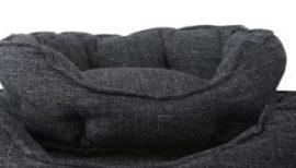 Hamuszürke zsákszövet jellegű  párnázott kutyafekhely, 57 x 52 cm