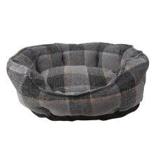Szürke kockás zsákszövet jellegű  párnázott kutyafekhely, 45 x 40 cm