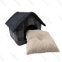Szövet kockás kutyaház, szürke sátortetővel, beltérre, 47 x 39 x 42cm