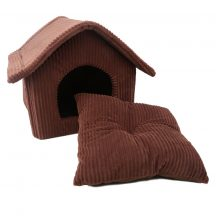 Szövet kockás kutyaház, barna sátortetővel, beltérre, 47 x 39 x 42 cm