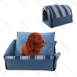 Fekhellyé alakítható beltéri kutyaház, kék színben, 60 x 45 x 50 cm