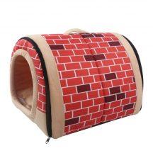 Fekhellyé alakítható beltéri kutyaház, piros alapon tégla mintás, 45 x 35 x 32 cm