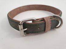 Velúr hatású zöld színű nyakörv fém csattal, 2cm x 32-40cm
