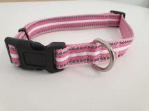 Rózsaszín-fehér csíkos mintás nyakörv, 2.0cm x 35-50cm