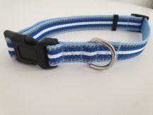 Kék-fehér csíkos mintás nyakörv, 2.5cm x 45-66cm