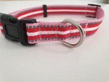 Piros-fehér csíkos mintás nyakörv, 2.5cm x 45-66cm