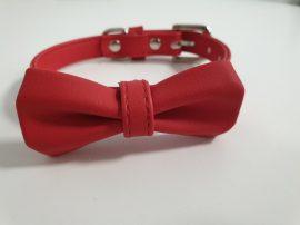 Masni formás, piros nyakörv, fém csattal, 2cmx32-40cm