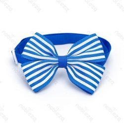 Kék alapon fehér csíkos, dupla masnis csokonyakkendő