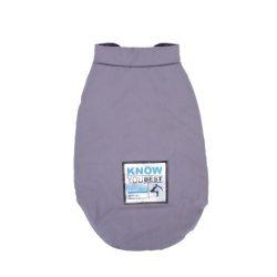 Könnyű őszi, alul patentos kabát szürkés lila színben, 25 cm háthossz