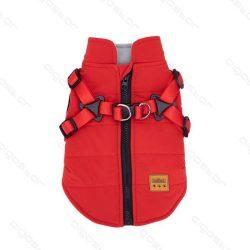 Hámos, felül zipp-záras, piros színű kutyakabát, 25 cm háthossz