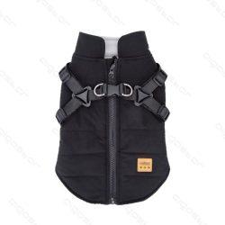 Hámos, felül zipp-záras, fekete színű kutyakabát, 30 cm háthossz