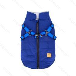Hámos, felül zipp-záras, kék színű kutyakabát, 30 cm háthossz