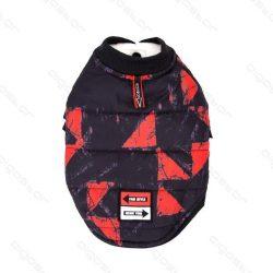 Nyomtatott mintás patentos kabát 35 cm háthossz piros
