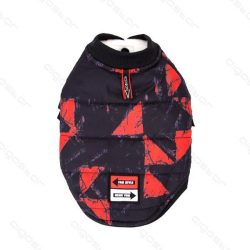 Nyomtatott mintás  patentos kabát 45 cm háthossz piros