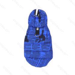 Újság mintás kapucnis patentos kabát 25 cm háthossz kék