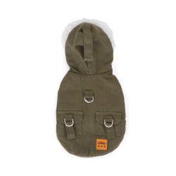 Szőrme galléros dupla polár kapucnis  kabát  30 cm háthossz khaki