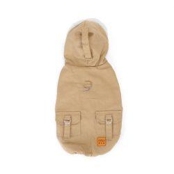 Szőrme galléros dupla polár kapucnis  kabát  35 cm háthossz bézs