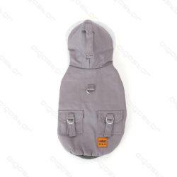Szőrme galléros dupla polár kapucnis  kabát  45 cm háthossz szürke