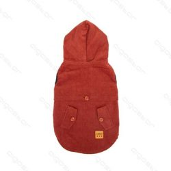 Piros, bélelt télikabát kutyáknak, alul tépőzáras, 30 cm háthossz