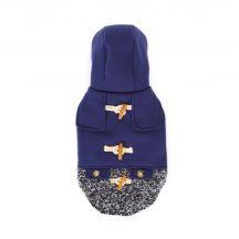 Elegáns bélelt kék télikabát kutyáknak, gombokkal díszítve, 25 cm háthossz