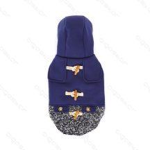 Elegáns bélelt kék télikabát kutyáknak, gombokkal díszítve, 45 cm háthossz