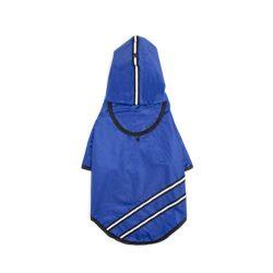 Dupla csíkos kapucnis esőkabát kék 50 cm