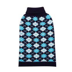 Bebújós-nyakas kék kockás kötött kutyapulcsi, 25cm háthossz