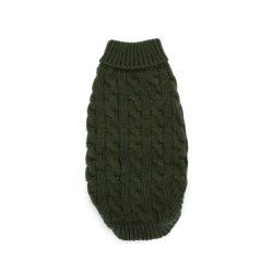 Zöld egyszínű bebújós kötött kutyasweatter, 25cm háthossz