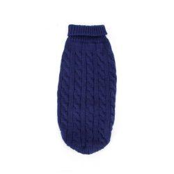 Kék egyszínű bebújós kötött kutyasweatter, 35cm háthossz