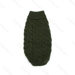 Zöld egyszínű bebújós kötött kutyasweatter, 35cm háthossz