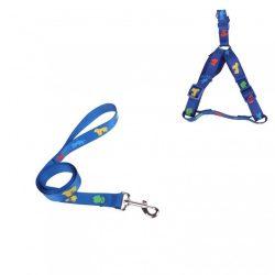 Szett, kék alapon kutyamintás nylon póráz  Sz1,0*H120cm + hám Sz1,0*H25-40cm