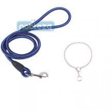 Szett, kék kötélpóráz, D0,8*H120cm + Ezüst fojtó nyakörv 0,35*H35cm