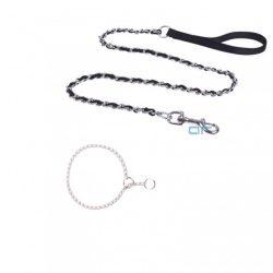 Szett, Fekete láncos póráz, Sz4,0*H120cm + Ezüst fojtó nyakörv 0,35*H55cm