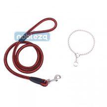 Szett, piros kötélpóráz, D0,8*H120cm + Ezüst fojtó nyakörv 0,35*H35cm